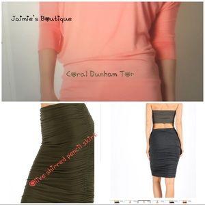 Dresses & Skirts - Shirred Pencil Skirt&Dolman Top OliveCoal 4/$15